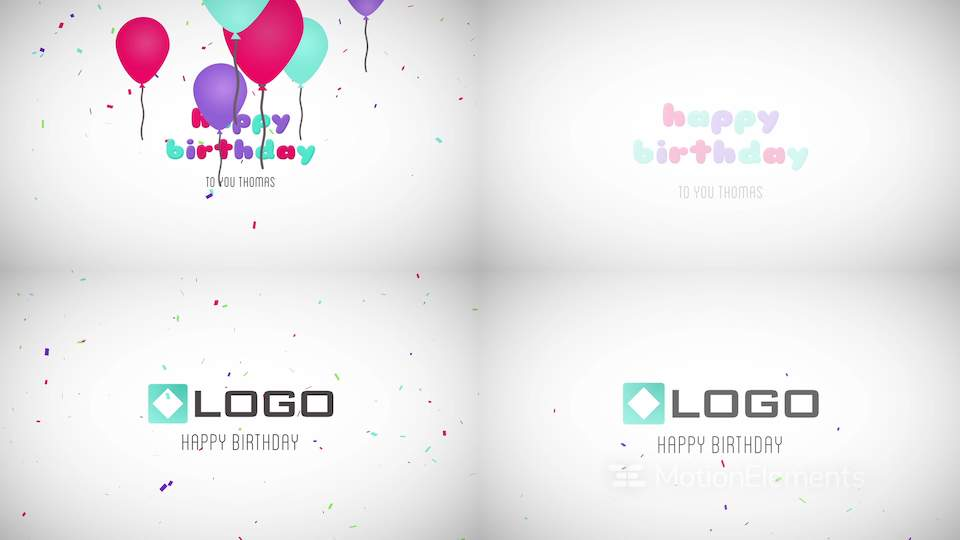 Happy Birthday Wishes Message Balloons Particles Logo Text Reveal Animation After Effects Templates