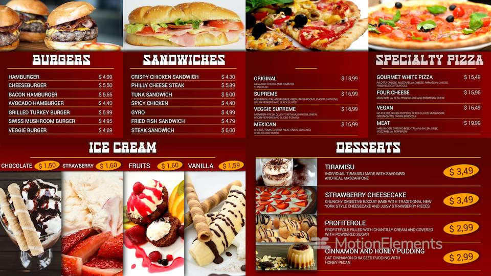 Fast Food Menu Board After Effects Templates | 9105204