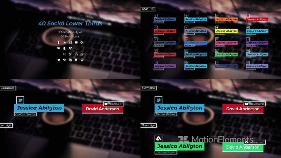 Social Lower Thirds After Effects Templates