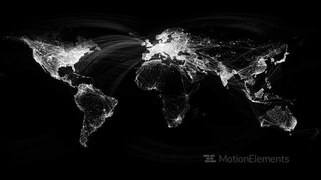 Network lines lighting up world map 4k black and white version very detailed stock animation 7726177