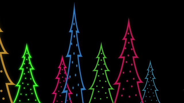 Graphic Neon Christmas Trees Animated Background Stock Animation | 8922453