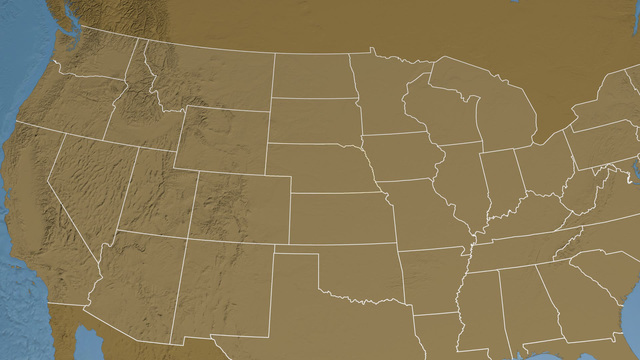 Nebraska State Usa Extruded Elevation Map Stock Animation 6517206