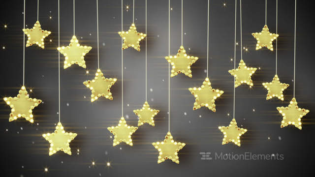 Gold Hanging Stars Christmas Lights Loop Stock Animation | 4888661