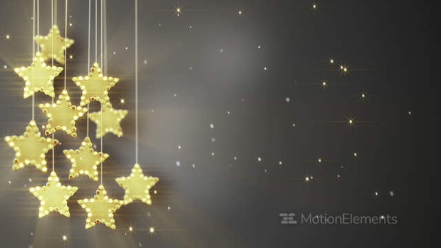 Gold Hanging Stars Christmas Lights Loop Stock Animation 5754380 Star