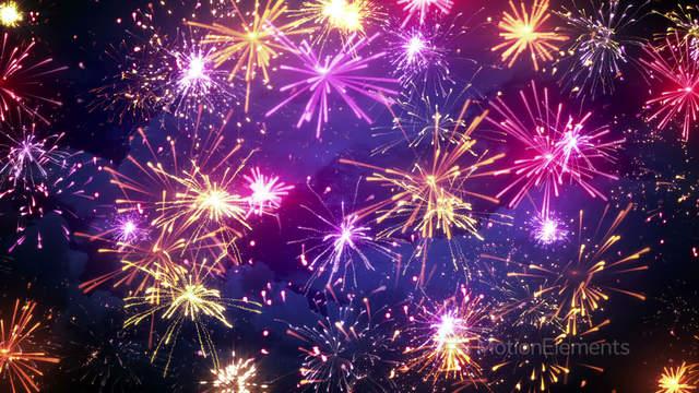 fireworks display with lots of colorful bursts loop 4k 4096x2304